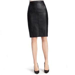 CAbi Black Vegan Leather Pencil Skirt